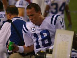 Peyton Manning on sidelines