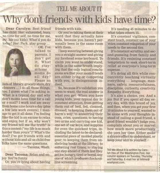 Why Don't Friends With Kids Have Time