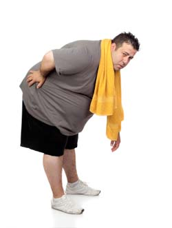 Obese Man in Pain