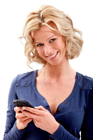 woman texting thumb pain
